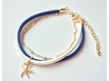 【10000♡thank you】Suède Bracelet*blue×white