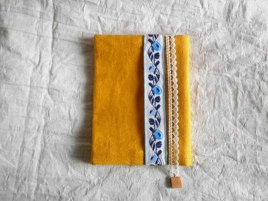 文庫本ブックカバー チロル&レース (yellow&blue)
