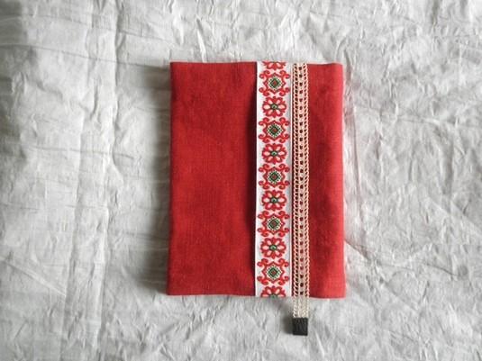 文庫本ブックカバー チロル&レース (red&beige)