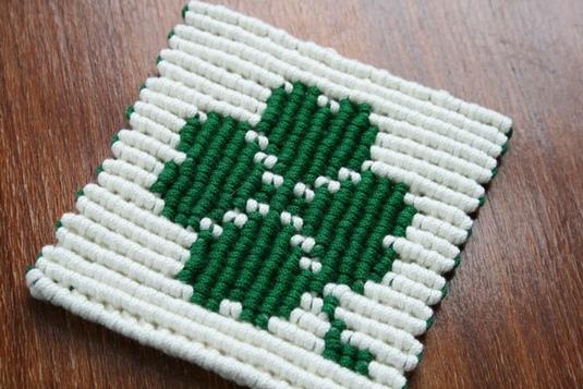 四つ葉のクローバー コースター(緑)