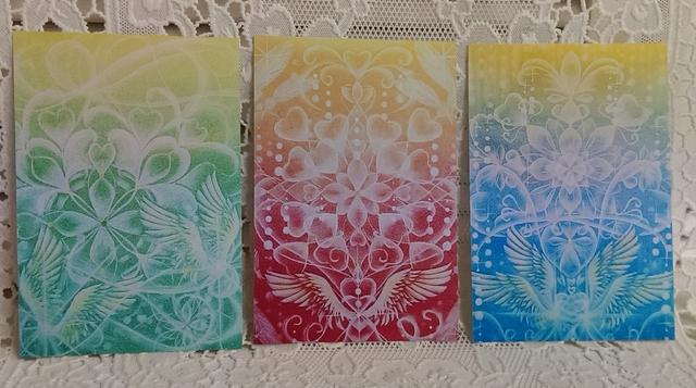 * postcard *天使の羽とハート曼荼羅3枚組(m10,m11,m12)