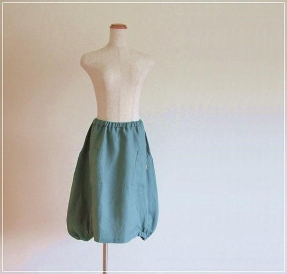 blue green* リネン ヘムライン バルー...