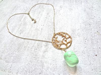 珊瑚モチーフのネックレス(グリーンターコイズ)