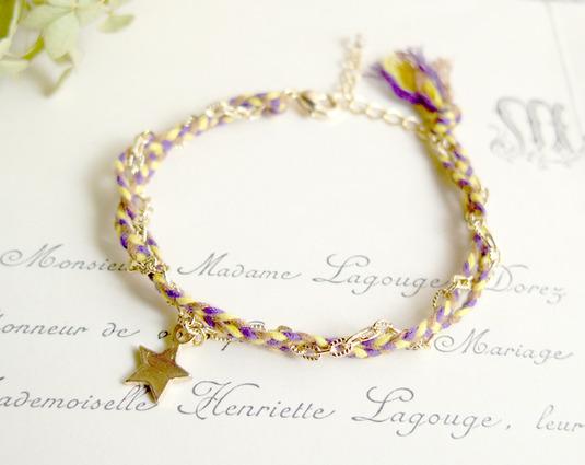 ヒモとチェーンと星のブレスレット(紫)