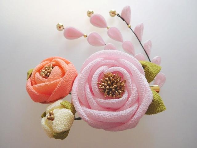 薄桜色 椿(6cm)の2wayクリップピン...