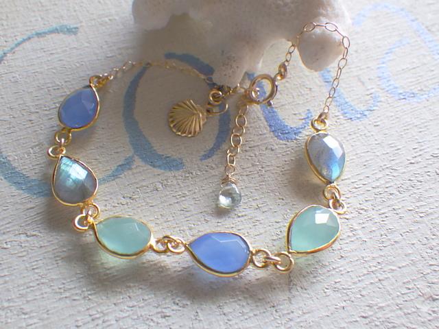 Ocean Framed gemstone Bracelet *14kgf*