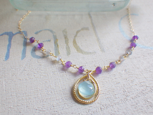 Romantic Aqua Chalcedony necklace *14...