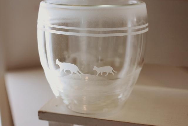 ネコとマリンのダブルウォールグラス