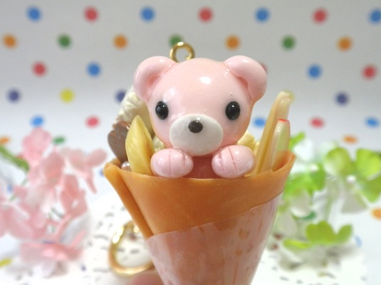 もぐりっクマ☆キーホルダー(クレープxチョコアイス)