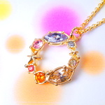 sparkle 7colors rainbow classic ! gold color chain スワロフスキーチャームネックレス