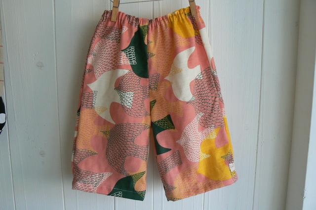 ピンクの鳥さん柄のパンツ  (90〜100サイズ)再販