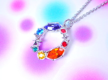 sparkle 7colors rainbow deep ! rhodium color chain スワロフスキーチャームネックレス