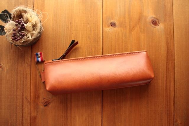 716 合皮ペンケース -こんがり焼き色ブラウン- マチありペンケース シンプルペンケース