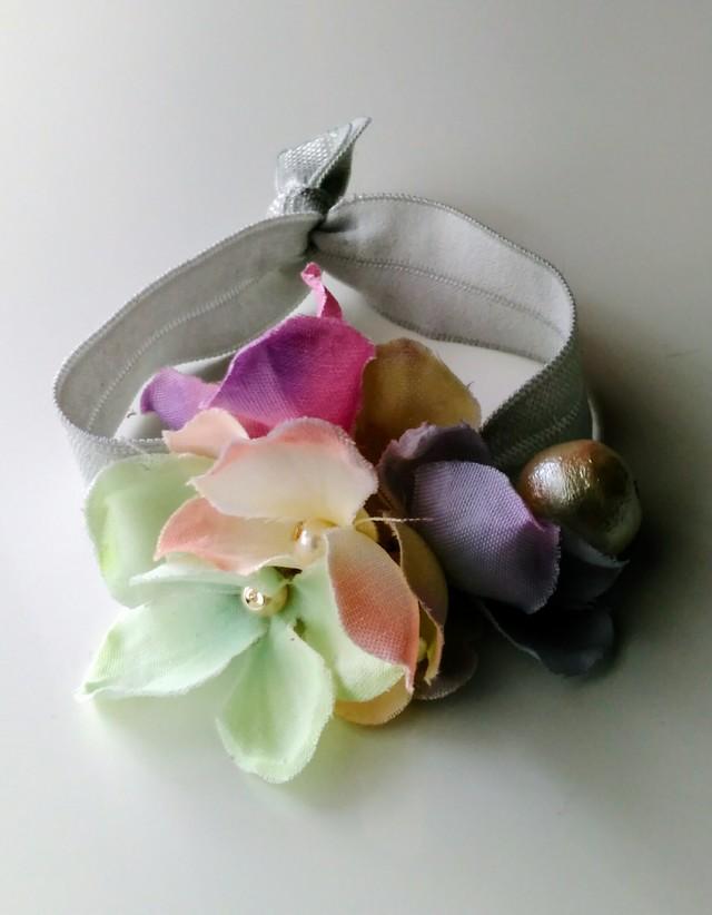 パステルカラーのお花ブレスレット、兼...