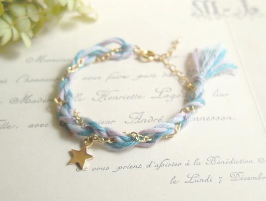 フランスビンテージ刺繍糸と星のブレスレット(青)