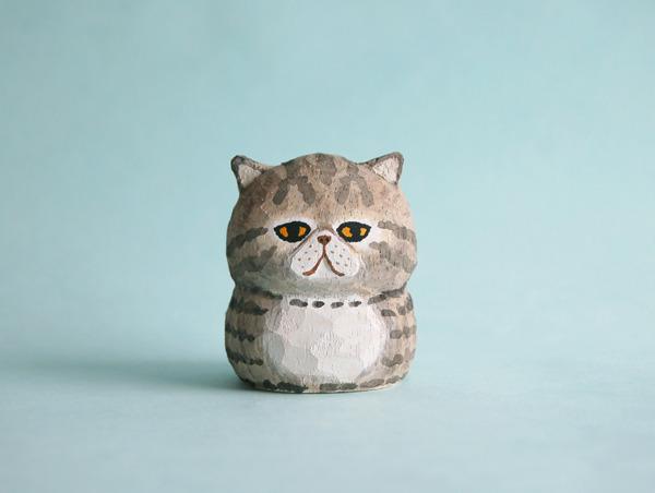木彫り人形 エキゾチック こげ茶トラ  [MWF-065]