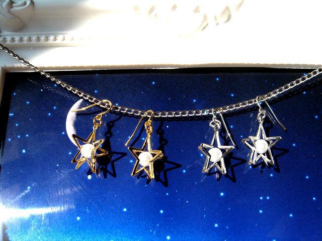 [再販]星とパールのピアス