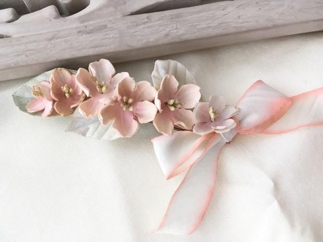 桜バレッタ シルクリボン pink
