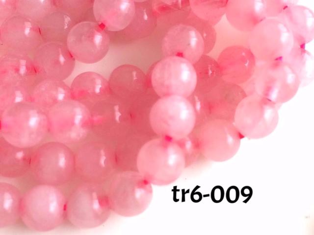tr6-009\t天然石ラウンドビーズ\t6mm\tローズクオーツ\tピンク\t25個