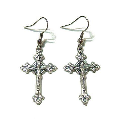 十字架クロスフックピアス