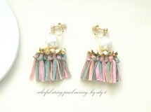 再colorful string pearl earring