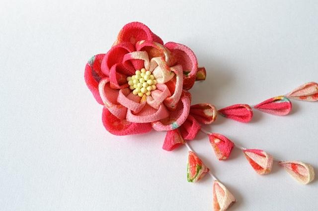 tumami*牡丹(ピンク)2wayクリップ