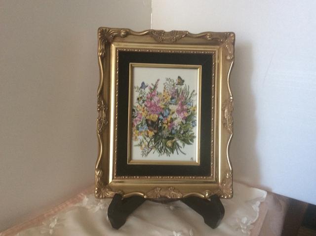 花のブーケの陶板額絵