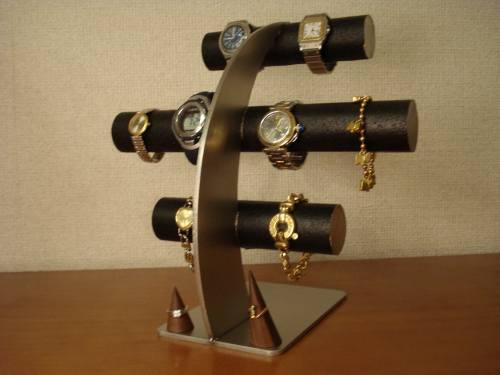 ブラック8本掛け腕時計スタンド 指輪ス...