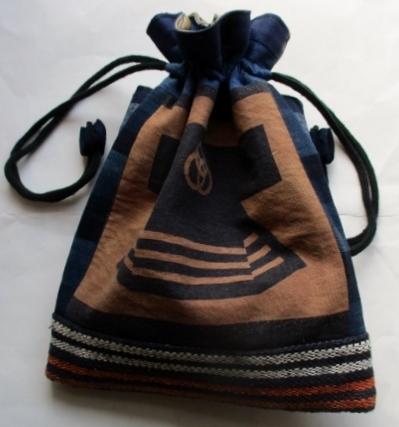 半纏柄と土佐紬で作った巾着袋 2341
