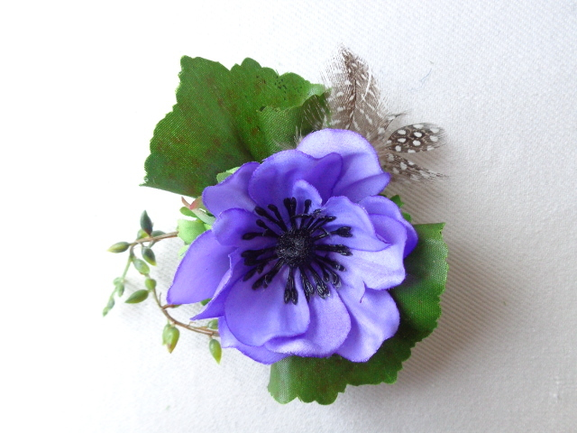 blue lavender  anemone コサージュ