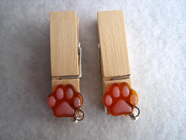 木製ピンチ・肉球2個セット(茶色)