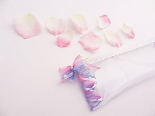 パステルリボンのクリアペンケース 水色×ピンク ...