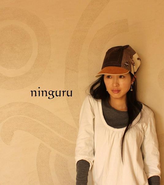 手縫い刺繍の茶色 背高帽子