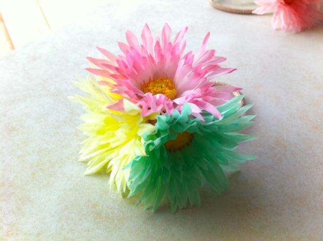 カラフルお花ヘアゴム