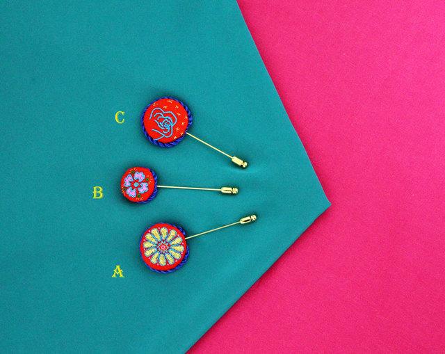 丸型刺繍ハットピン typeC