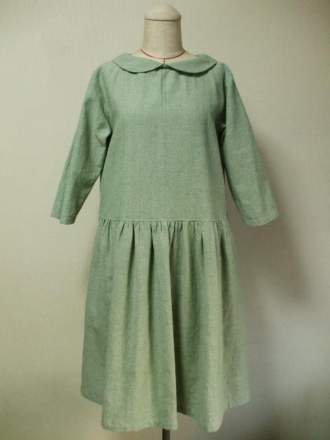 麻混素材丸衿7分丈袖のワンピース Lサ...