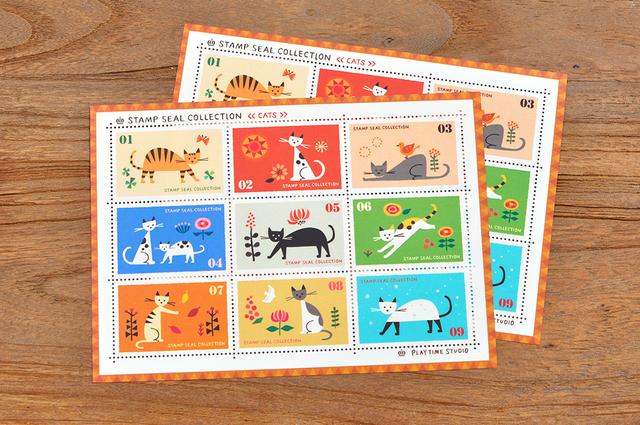 猫の切手風シール