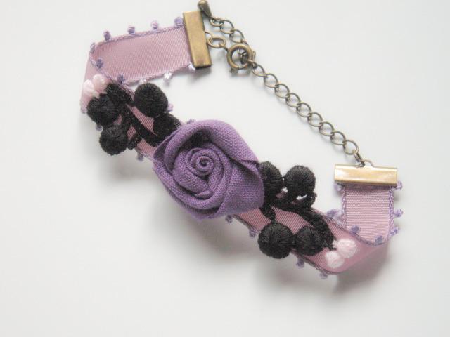 New ピコットリボン 紫&黒 ローズ ブレスレット