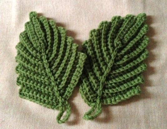 葉っぱのアクリルタワシ(緑)