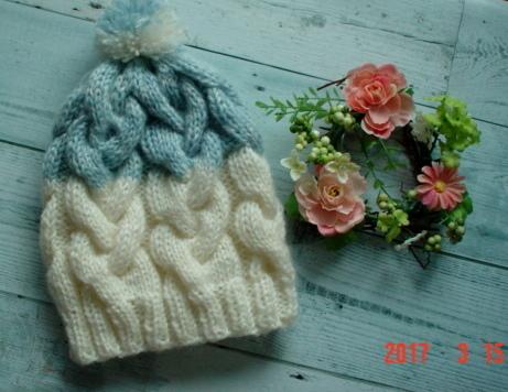 ☆彡三つ編み アラン模様のニット帽