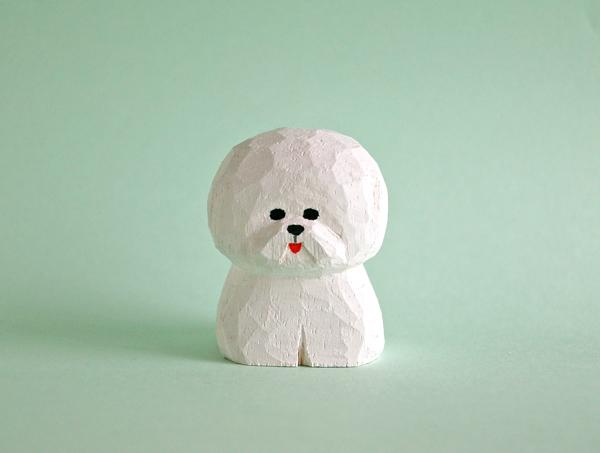 木彫り人形 ビションフリーゼ2 [MWF-2...