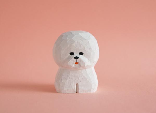 木彫り人形 ビションフリーゼ4 [MWF-29...