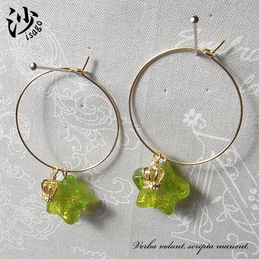 ヴェネチアンガラスのフープピアス/グリーン