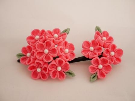 葉つきのお花飾りセット(ヘアピン)