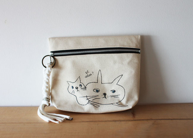 <New!>cat print pouch・キナリ