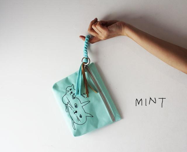 <New!>cat print pouch・ミント