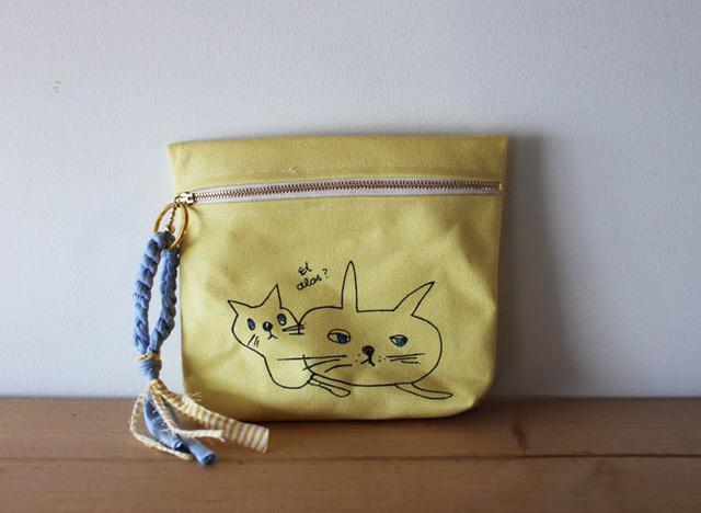 <再販!>cat print pouch・レモン