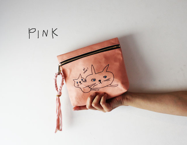 <New!>cat print pouch・ピンク