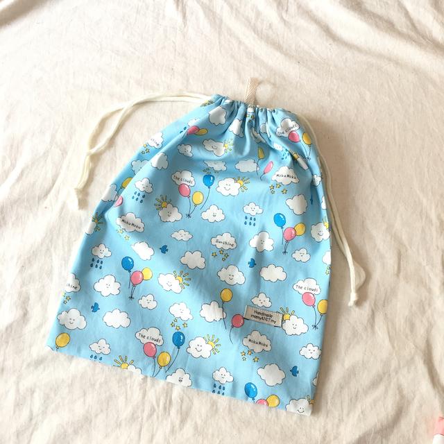 入園入学お着替え袋#ぷかぷか雲blue