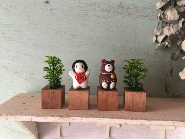 小さな植木鉢♪こどもの日金太郎&クマ